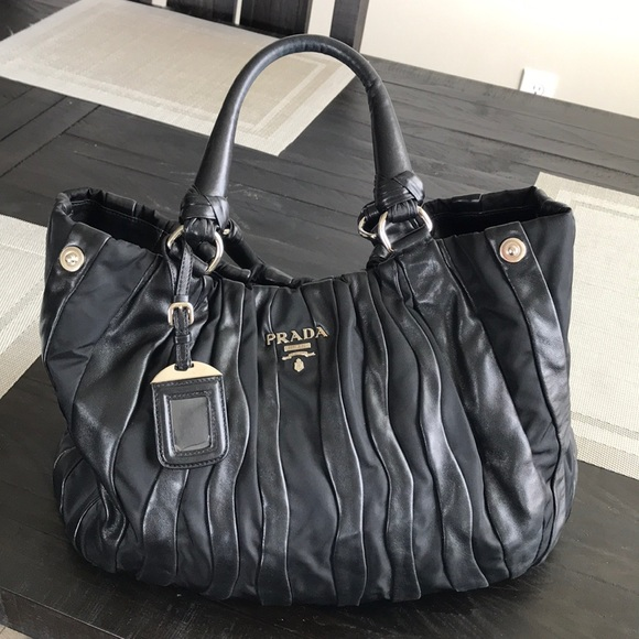 Prada Bags   Authentic Leather And Nylon Rushed Bag   Poshmark 4e5f93180b